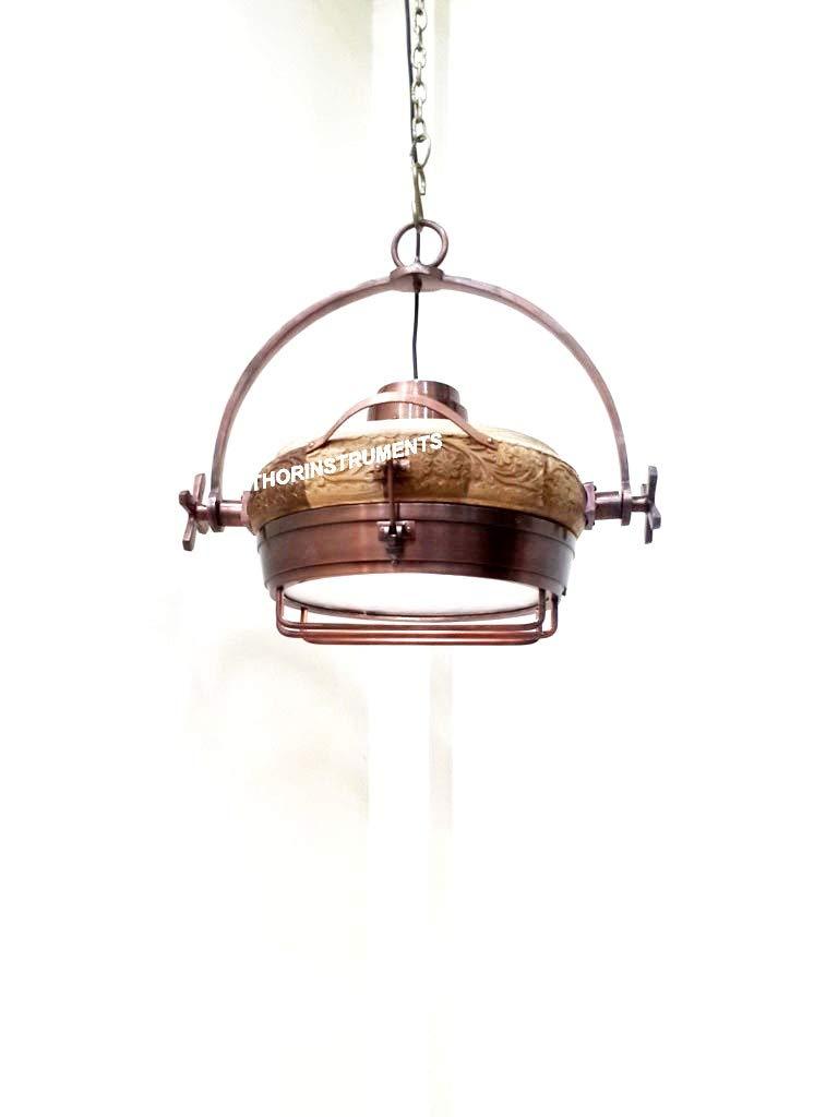 Nautical Vintage Large Natural Wood Hanging Pendant Light Industrial Lamp
