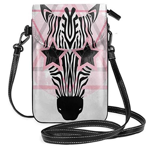 Women Small Cell Phone Purse Crossbody,Zebra Head Star Eyes Boho Portrait Geometric Primitive Effect Ethnic