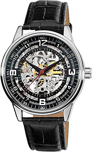 Akribos XXIV Men's AK410 'Saturnos' Skeleton Automatic Leather Strap Watch (Silver)