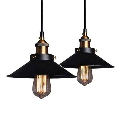 2 Piezas Industrial Luz Colgante Retro Luz de Techo Vintage lámpara Edison Colgante de Luz, Moderna Lámpara de Techo Decorativa Iluminación E27