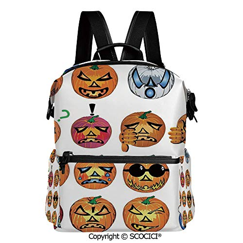 SCOCICI Personalized 3D Printed School Backpack,Carved Pumpkin with Emoji Faces Halloween Humor Hipster Monsters Art,L11.4xW6.3xH15 Inches (The Best Carved Pumpkin In The World)