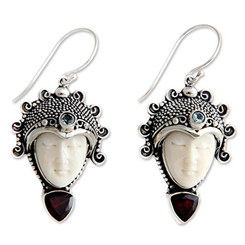 NOVICA .925 Sterling Silver Dangle Earrings with Garnet and Blue Topaz 'Princess Aura' (1.2 cttw)