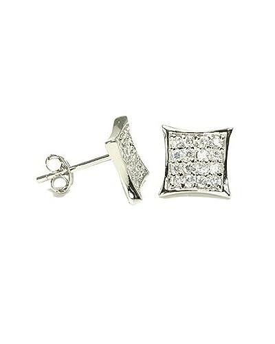 004be6b4b Amazon.com: Clear CZ Pave Kite Shape Sterling Silver Stud Earrings 7mm:  Mens Earrings: Jewelry