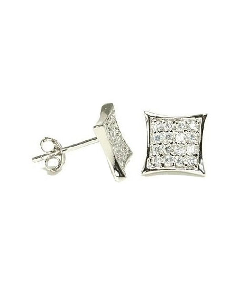 Clear CZ Pave Kite Shape Sterling Silver Stud Earrings 7mm