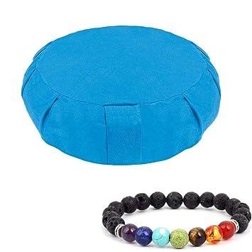VOROSY Buckwheat Meditation Cushion – Round Or Zabuton Zafu Yoga Pillow | Zippered Organic Cotton Cover | Machine Washable | Carrying Handle