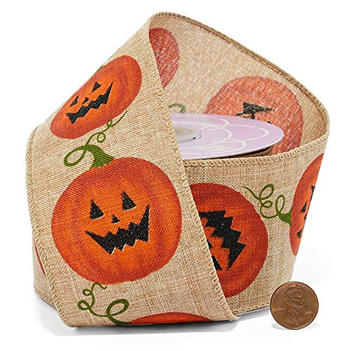 Rustic Jack-O-Lantern Halloween Wired Ribbon - 2 1/2