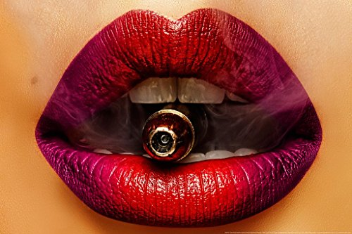 Red Lips Bulls Eyes by Daveed Benito Poster 24x36 -