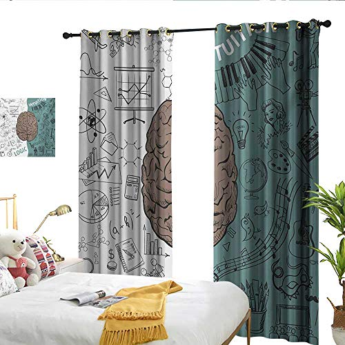 WinfreyDecor Modern Insulated Sunshade Curtain Brain Image with Left and Right Side Music Logic Artwork Side Science Print Set of Two Panels W84 x L96