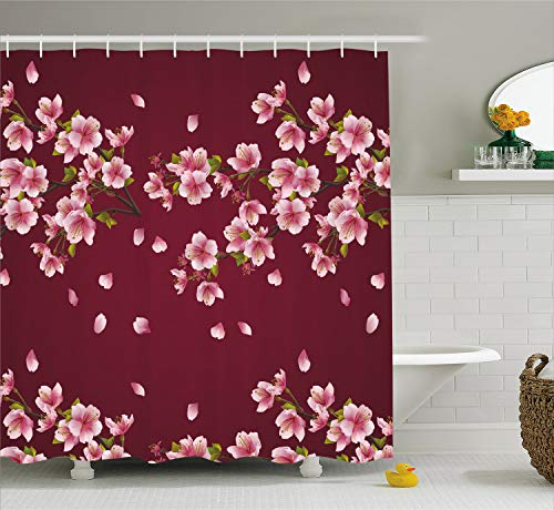 Ambesonne Maroon Shower Curtain, Japanese Sakura Tree Branches in Full Blossom Scattered Petals Asian Spring, Fabric Bathroom Decor Set with Hooks, 75 Inches Long, Pink Maroon - Maroon Green