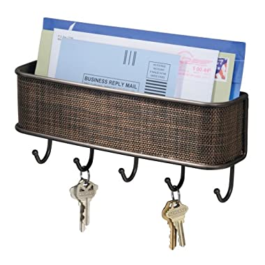 InterDesign Twillo Mail, Letter Holder, Key Rack Organizer for Entryway, Kitchen - Wall Mount, Bronze