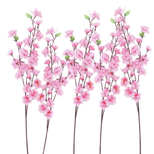 Soledi Artificial Peach Bouquet 10 Bunch Blossom Flower for Home Office Decor Pink