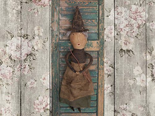 Primitive Witch Doll with broom - Handmade in California (Scary Doll Look For Halloween)
