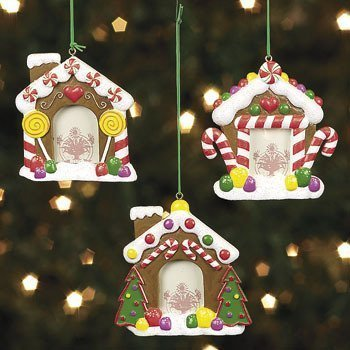 - Fun Express Resin Gingerbread House Photo Frame Ornaments - 3 Pieces