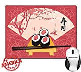 """Luxlady Natural Rubber Mouse Pad/Mat with Stitched Edges 9.8"""" x 7.9"""" IMAGE ID: 35994301 Sushi on a tray with chopsticks on a background of a fan with a picture of spring landscape with lake and trees"""
