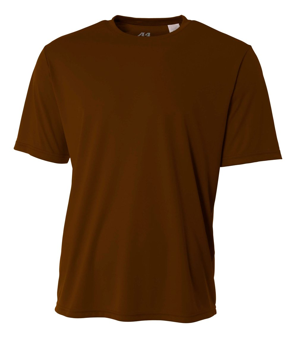 A4 Men's Cooling Performance Crew Short Sleeve T-Shirt, Brown, Small