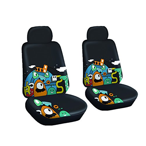 Price comparison product image AutoJoy Soft Velvet Car Seat Covers with Animals Digital Printing,Washable,Breathable,for Universal Size Car-Front Seat