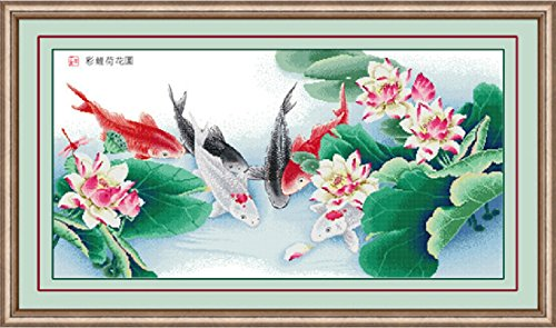 Happy Forever Cross Stitch, animal fish ,The carp and lotus