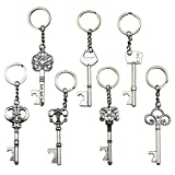 XONOR (Pack of 7) Key Bottle Openers - Skeleton Key Opening Beer Bottles Soda Bottles Keychain Key Ring for Tailgate Party or Wedding Party, Festival (Silver, Pack of 7)