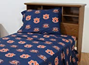College Covers Auburn Tigers Printed Solid Sheet Set, Full
