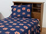 College Covers Auburn Tigers Printed Solid Sheet Set, Queen