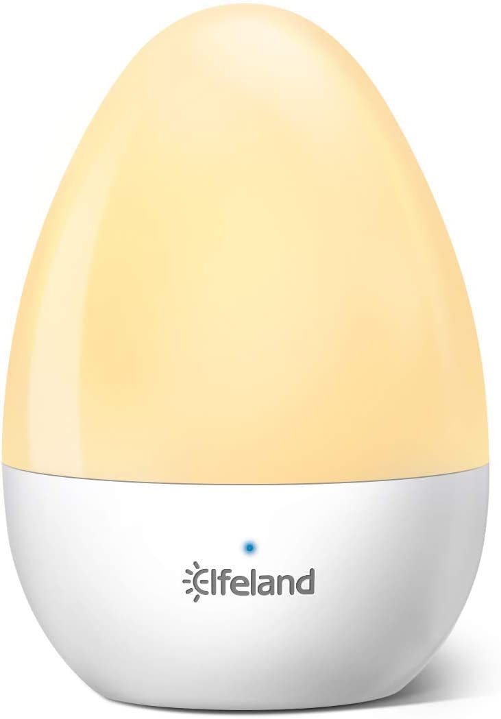 Elfeland Night Light Rechargeable Table Lamp with Cool and Warm White & Dimmable Bedroom Light, IP65 Water-Resistance & Drop-Resistance, Touch Control Nursery Night Lamp for Reading, Sleeping, and Nu