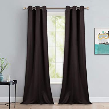 NICETOWN Blackout Thick Window Curtains - Thermal Insulated Grommet Drape Panels for Bedroom and Living Room (Brown, Set of 2, W42 x L90)