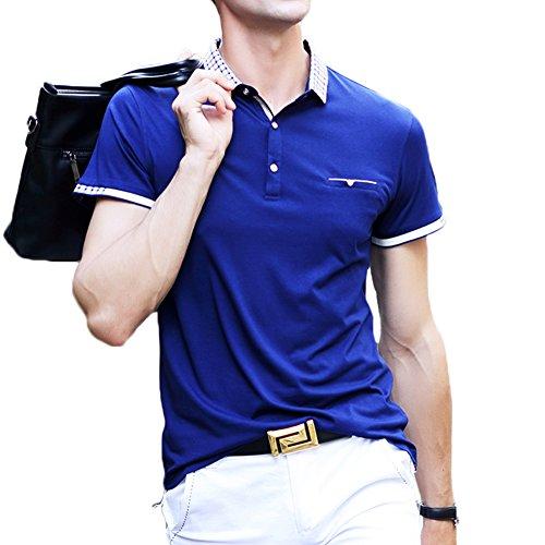 ポロシャツ メンズ ゴルフウェア 半袖 ポケット付き 二重衿 レイヤード 無地 軽量