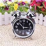 Surborder Shop Mute 4 inch metal Twin Bell Analog Alarm Clock Loud Alarm Clock- Silver & Black