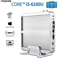 Msecore Low Power Fanless Mini PC Desktop Computer With Intel Core i3-6100U 2.3Ghz Single 4GB DDR3 RAM 128GB mSATA SSD Unit