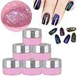 Gel Glitter Sequins Magic Mirror Nail Polish 6 Colors Manicure Decorations Base Top Coat Set