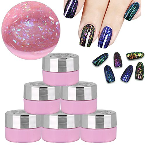 Gel Glitter Sequins Magic Mirror Nail Polish 6 Colors Manicure Decorations Base Top Coat Set by ZJchao