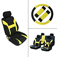 Stretchy Universal Seat Cushion w/Headrest/Steering Wheel/Shoulder Pads 100% Breathable Automotive Accessories with Durable Washable Polyester for Most Cars(Black/Yellow)Descriptions:Color: Black/YellowConfiguration: 11pcsMaterial: PolyesterA...