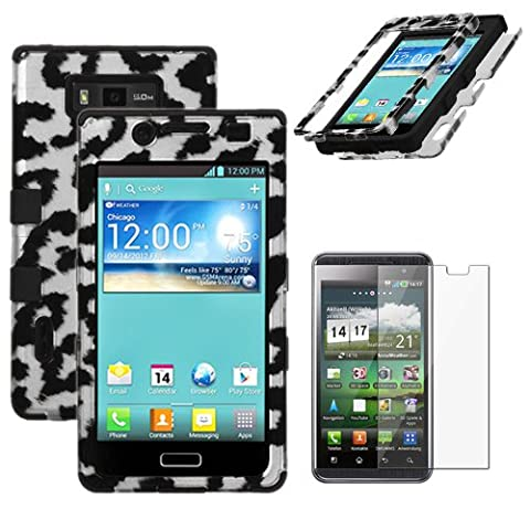 MINITURTLE, Premium Sleek Dual Layer 2 in 1 Hybrid Protective TUFF Case Cover and Screen Protetor Film for Prepaid Android Smartphone LG Optimus Showtime L86C / L86G and LG Optimus Ultimate L96G from Straight Talk (Black Leopard Skin / (Ultimate Android Smartphone)