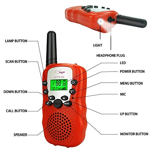 TOP Gift Gift for 3-12 Year Old Boys, Walkie Talkies for Kids Toys for Boys Girls Age of 3-12 Year Old 2018 Christmas New Hallowee Gifts for Kid Boys Girls 3-12 Stocking Fillers Red TGDJ04