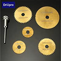 Drillpro 6pcs HSS Hojas de sierra circular set con revestimiento de titanio Hojas de sierra para herramientas Dremel Rotary