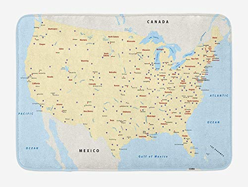 WCMBY Map Bath Mat, United States Interstate Map America Cities Travel Destinations Road Route, Plush Bathroom Decor Mat with Non Slip Backing, 23.6W X 15.7 W Inches, Yellow Red Pale Blue