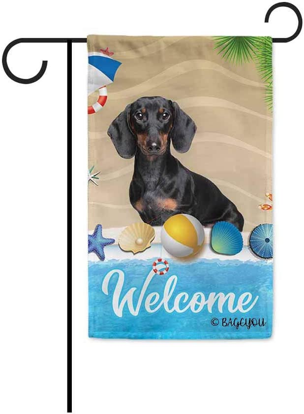 BAGEYOU Welcome Summer My Love Dog Dachshund in The Beach Decorative Garden Flag Lovely Puppy Seastar Shell Volleyball Decor Seasonal Banner for Outside 12.5 x 18 Inch Print Double Sided