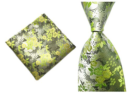 Men's Green Silver Self Ties Floral Leaf Silk Paisley Spring Suit Dress Neckties