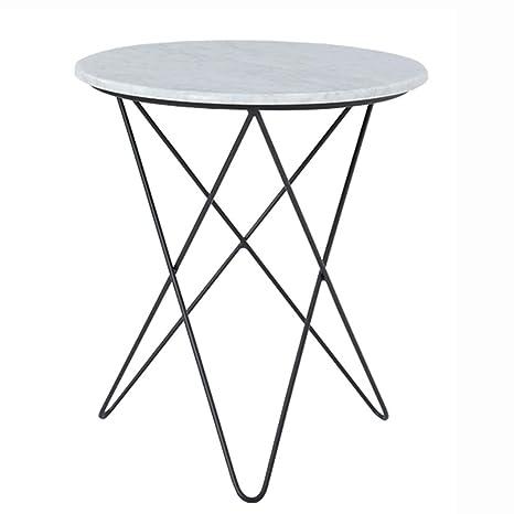 Amazon Com Jhvu Side Table Simple Marble Round Iron Art