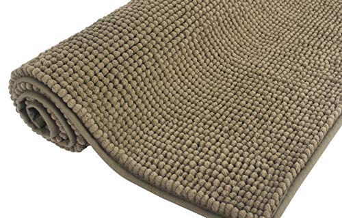 Bath Rug 20″x 30″ Taupe Ultra Thick and Soft Texture Chenille Bathroom Rug Non-Slip Door Mat for Kitchen/Entryway (Taupe)