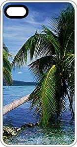 Leaning Palm Ocean Front White Rubber Case for Apple iPhone 5 or iPhone 5s by supermalls