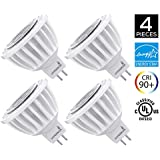 4-Pack of Hyperikon MR16 LED 7-Watt (50-Watt Replacement), 3000K (Soft White Glow), CRI90+, 490lm, Flood Light Bulb, Dimmable, UL-Listed and FCC Approved