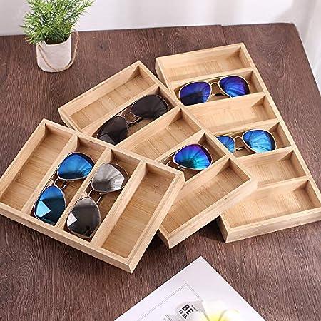 Nrpfell Gafas de Sol de Bamb/ú Pantalla Gafas Verticales de Madera Organizador Gafas Soporte de Exhibici/óN Escaparate Gafas Soporte 4 Rejilla