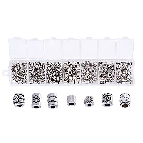 Pandahall 260pcs/box 7 Styles Tibetan Antique Silver Column Spacer Beads 4~8x3.5~6mm Lead Free & Cadmium Free for DIY Jewelry Making