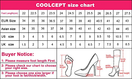 COOLCEPT Women Comfort Hidden Heel Collar Cuff Ankle Boots 2 Wear 90 Black 166n2