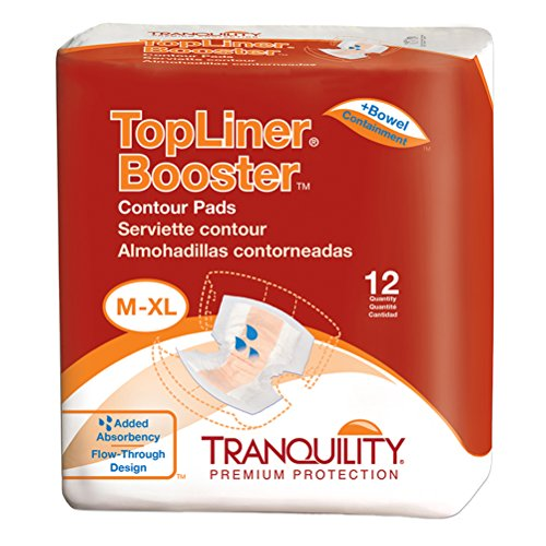Tranquility TopLiner Disposable Absorbent Booster Contour Pads for Bowel Incontinence - Contour (21.5