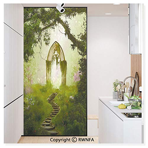 Decorative Window Film,Old Aged Fantasy Gate in Forest Ancient Medieval Gothic Greenery Digital Art Static Cling Glass Film,No Glue/Anti UV Window Paper for Bathroom,Office,Meeting Room,Bedroom,Green
