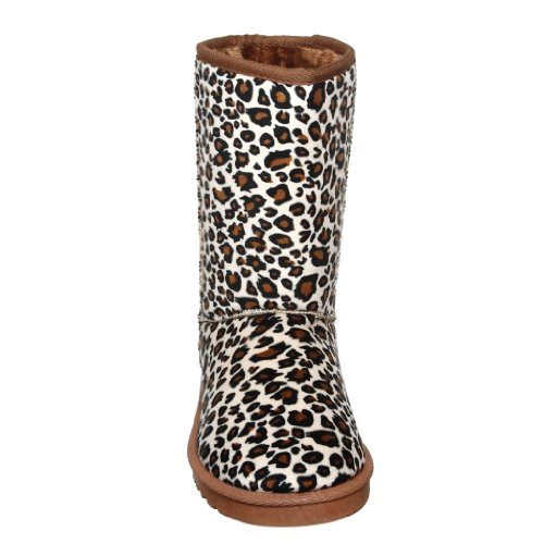 Shoew Qualunque Donna Foderato In Pelliccia Shearling Caldo Stivali Invernali In Microfibra A Metà Polpaccio W_leopard