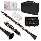 Yinfente Professional Clarinet Ebonite Wood B Flat 2 Barrels With Case Cloth Reed