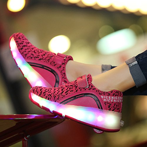 LILY999 LED Zapatos Niños Deporte Patín Ruedas Luminoso Formadores Flying Niños con 1 Ruedas Zapatillas Rosa